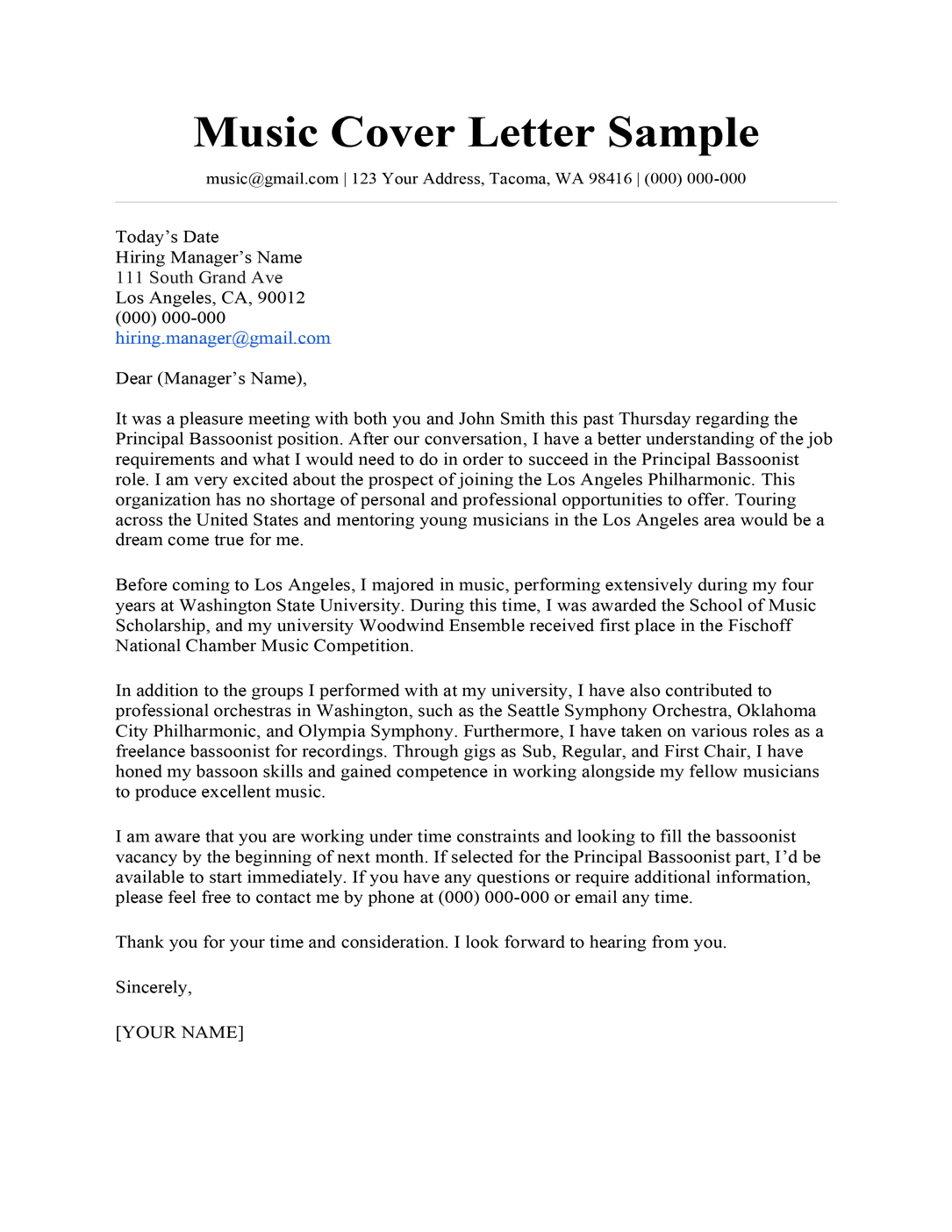 Music cover letter sample