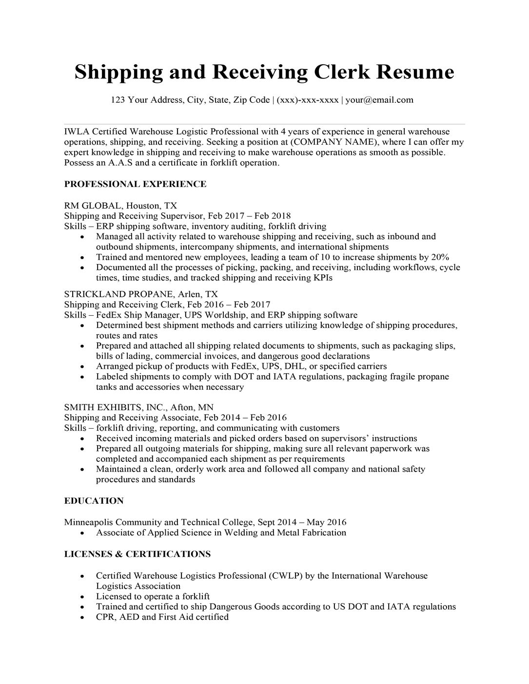Shipping and receiving clerk resume sample