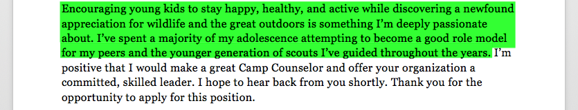 Camp Counselor Cover Letter Sample & Tips | Resume Companion