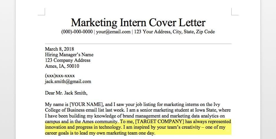 Marketing Intern Cover Letter First Paragraph