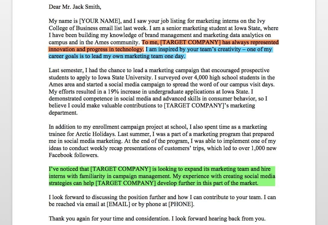Marketing Intern Cover Letter Questions