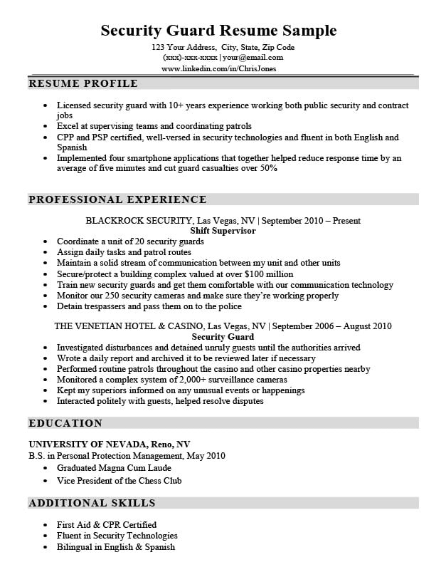 Security Guard Resume Sample Writing Tips Resume Companion
