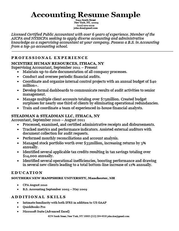 accounting  cpa  resume sample