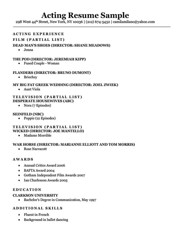 Acting Resume Sample Writing Tips