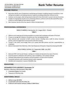 Bank Teller Resume Example Download
