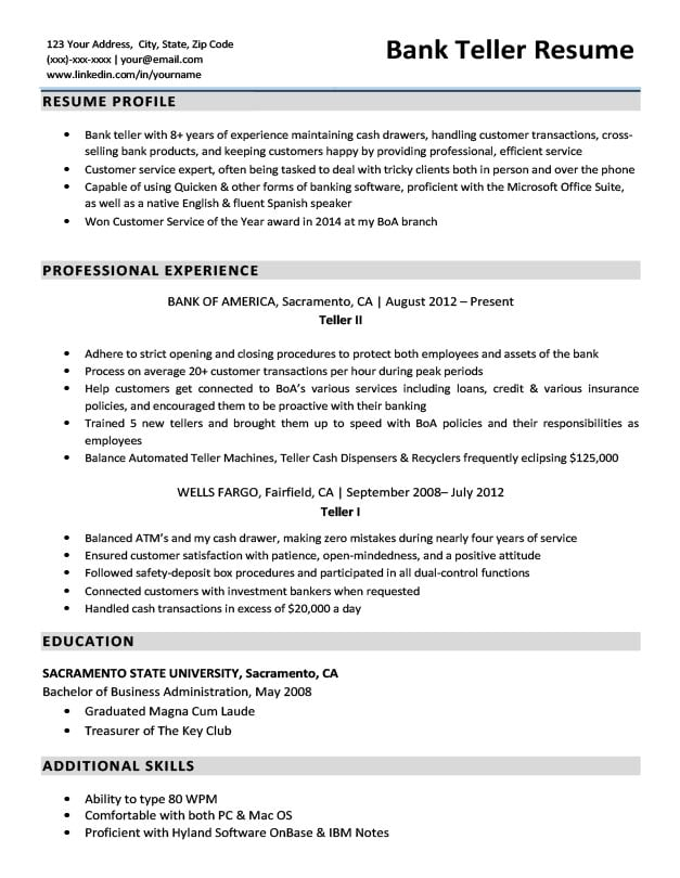 bank teller resume sample download - Bank Teller Resume Sample