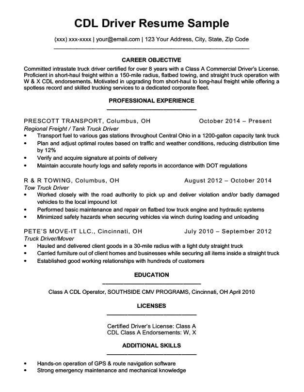 cdl driver resume sample amp writing tips resume companion
