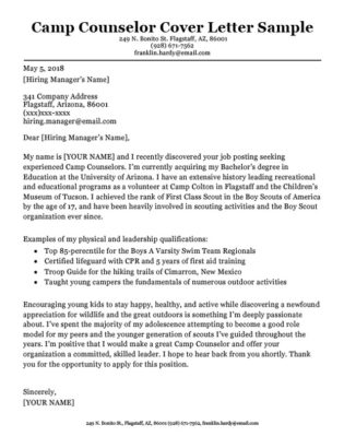 camp counselor cover letter sample download