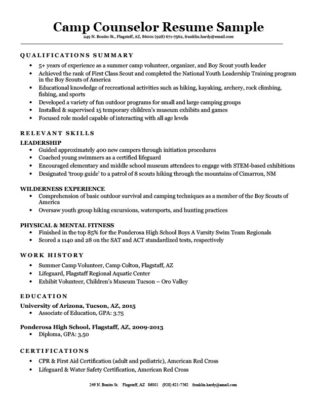 Camp Counselor Resume Sample Download