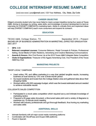 Internship Cover Letter College Student Resume For Sample Download