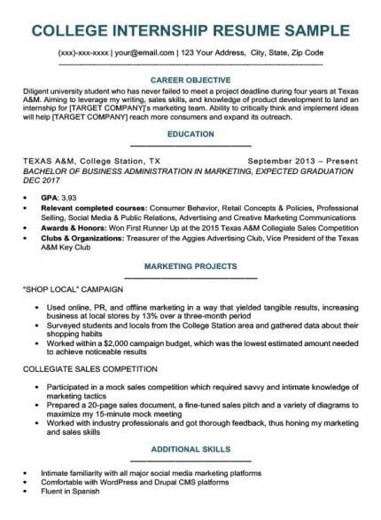college student resume for internship sample download