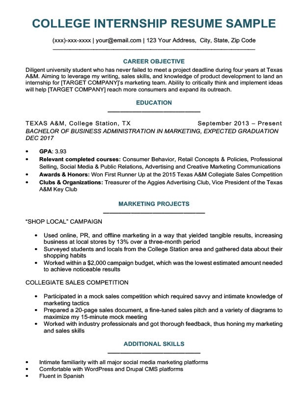 Exceptional College Student Resume For Internship Sample Download