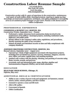 Construction Labor Resume Example Download
