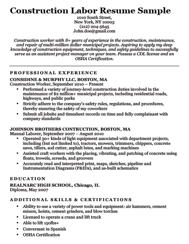 construction worker resume template