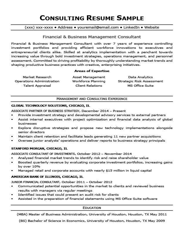 consulting resume sample  u0026 writing tips