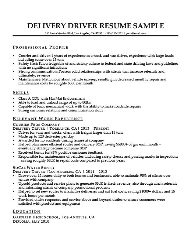 delivery driver resume sample download - Deliver Driver Resume