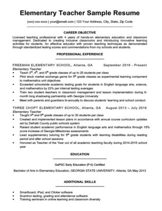 resumes for teachers tutor resume sample resume companion 24486 | Elementary Teacher Resume Sample Download 315x410