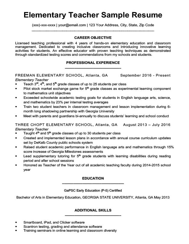 elementary teacher resume sample download