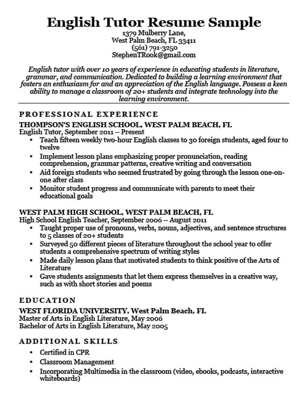 english tutor resume sample download