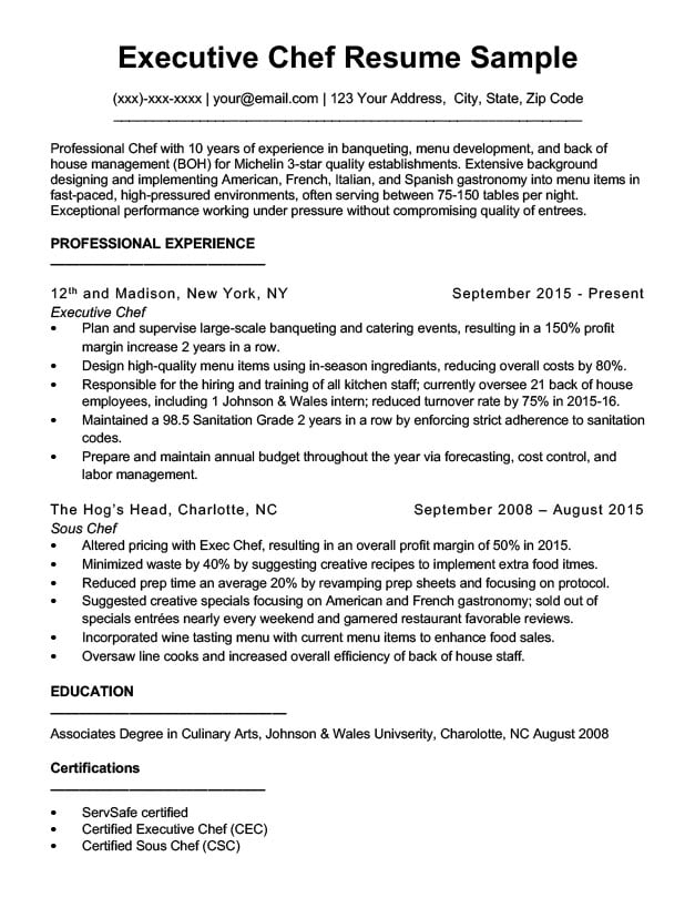 executive chef resume - Sous Chef Resume