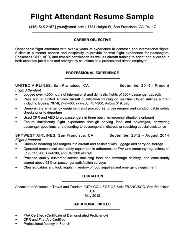flight attendant resume sample download