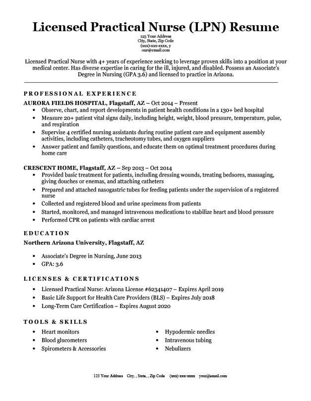 licensed practical nurse  lpn  resume sample  u0026 writing