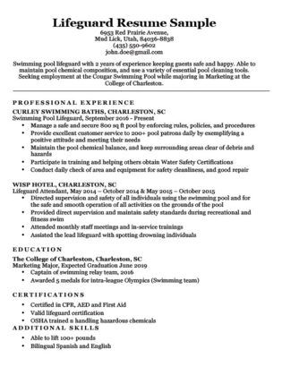 Lifeguard resume sample download