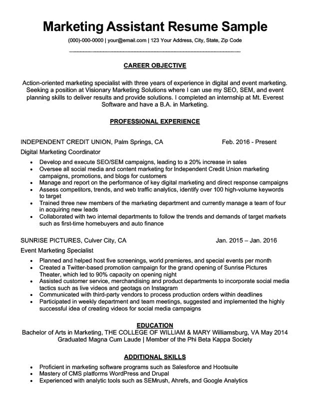 marketing assistant resume sample download