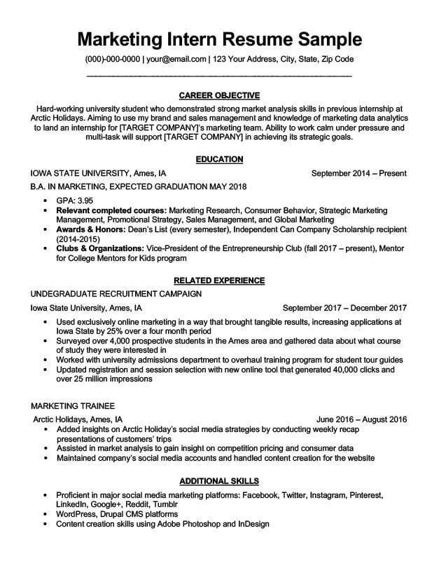 marketing intern resume sample writing tips resume companion. Black Bedroom Furniture Sets. Home Design Ideas