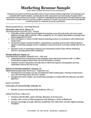 Marketing Resume · Marketing Cover Letter Sample Download