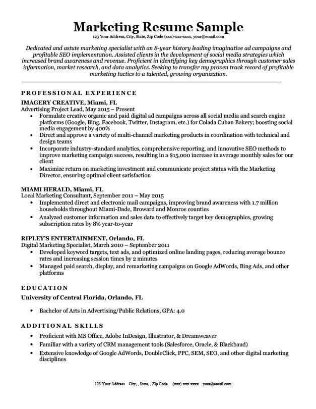 marketing resume sample  u0026 writing tips
