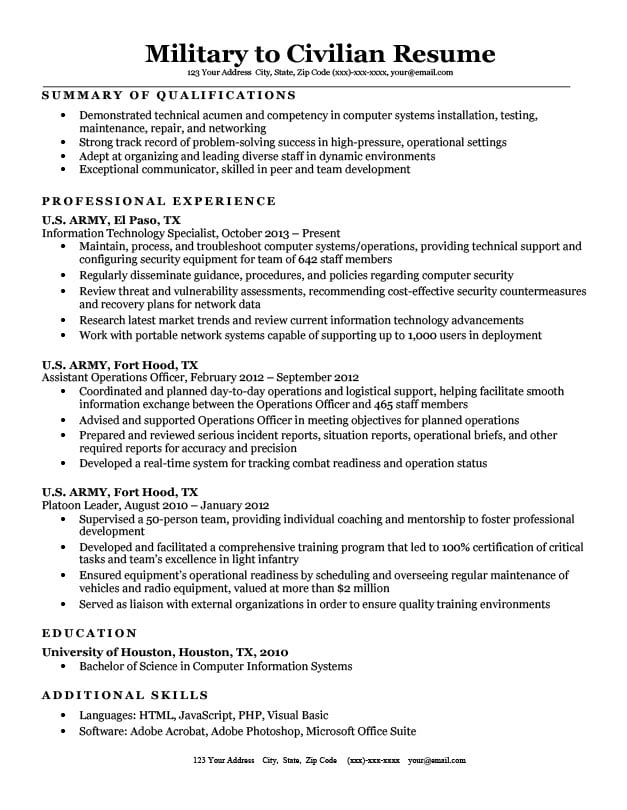 military to civilian resume sample  u0026 tips