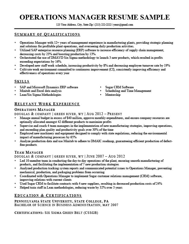 Operations Manager Resume Sample & Writing Tips | RC