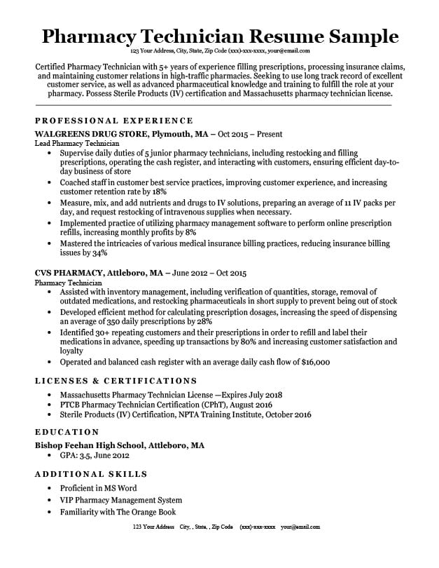 pharmacy technician resume sample  u0026 tips