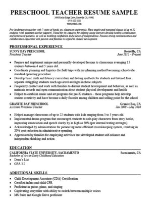 preschool teacher resume sample download