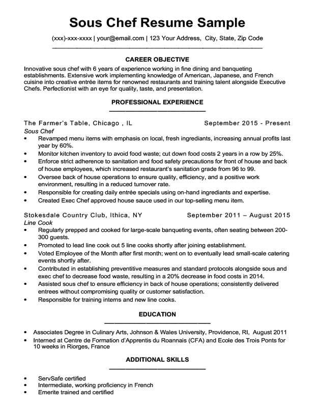 sous chef resume download sample - Sample Chef Resume