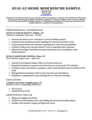 stay at home mom resume sample with continuous work experience