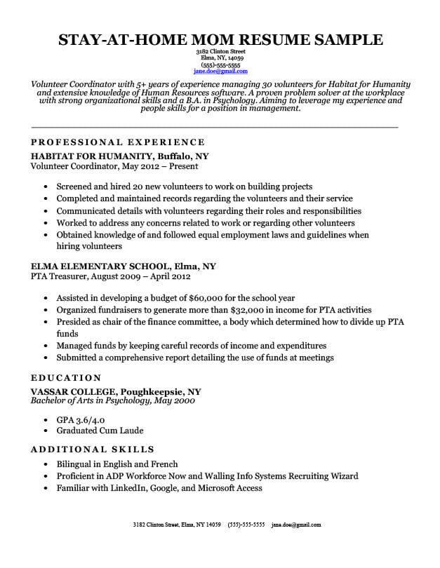 stay at home mom resume w continuous work experience