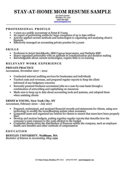 stay-at-home mom resume sample with work gaps