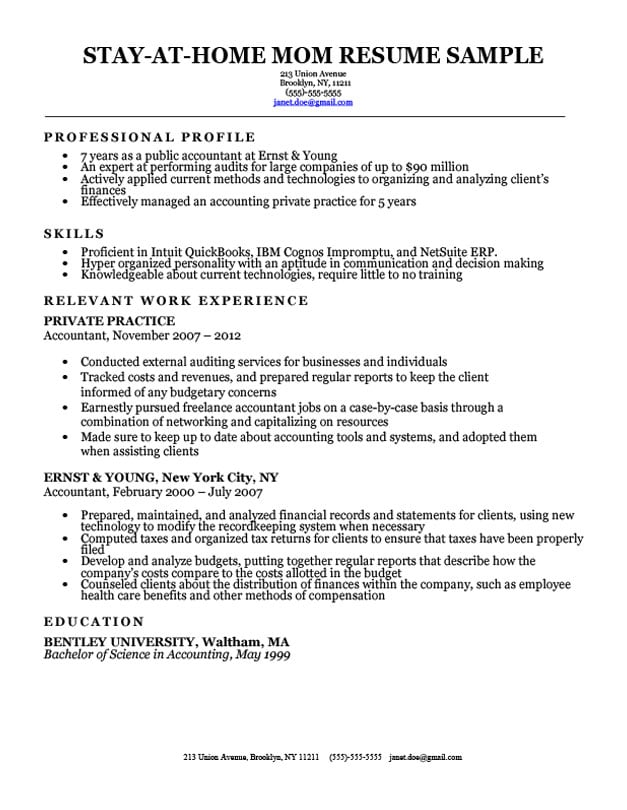 stay at home mom resume w a work experience gap - Sample Resume For Stay At Home Mom Returning To Work