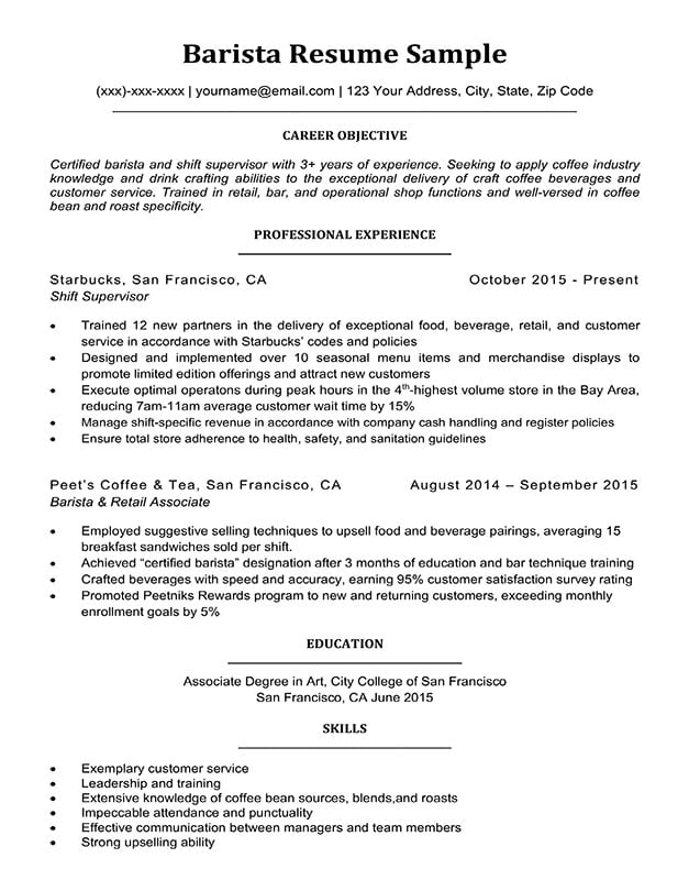 Barista resume template samples visualcv database.