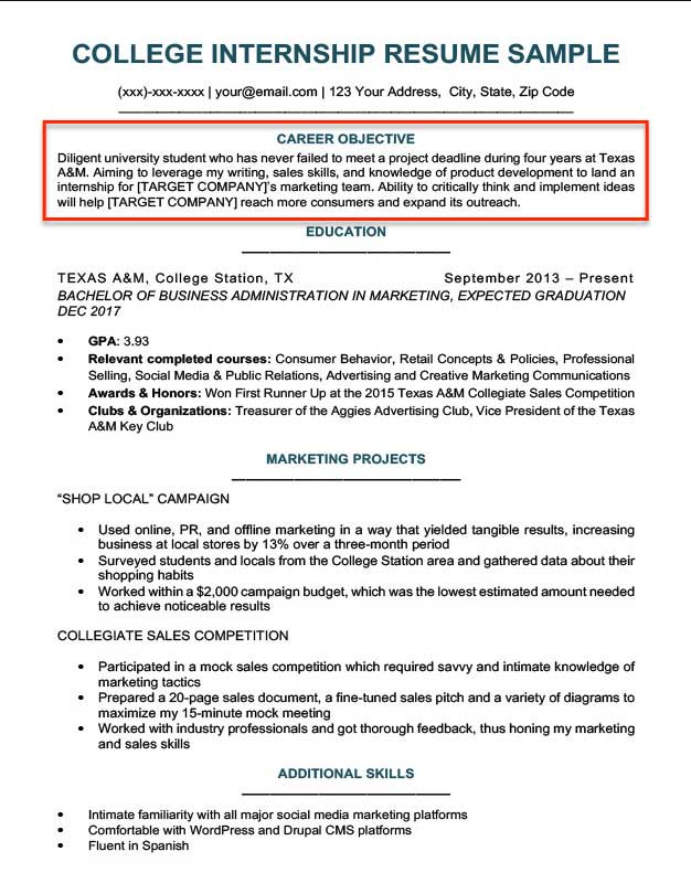 General Resume Objective Examples For College Students