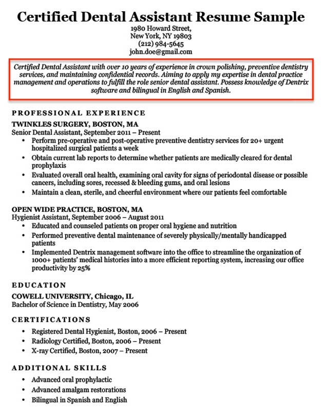 Dental Assistant Career Objective Example Professional Resume
