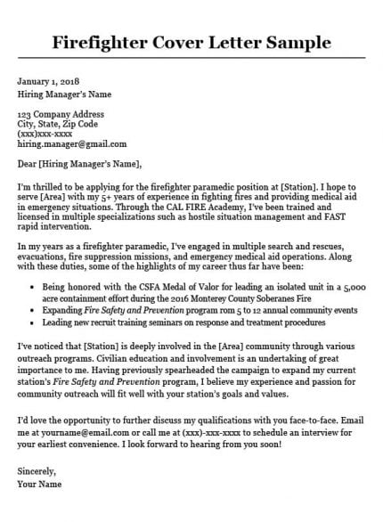 firefighter cover letter sample