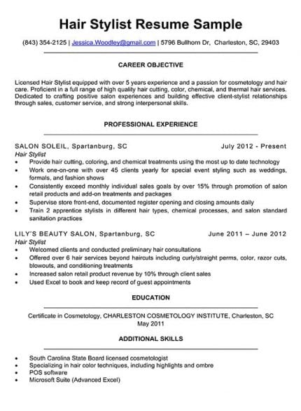 hairstylist resume sample download