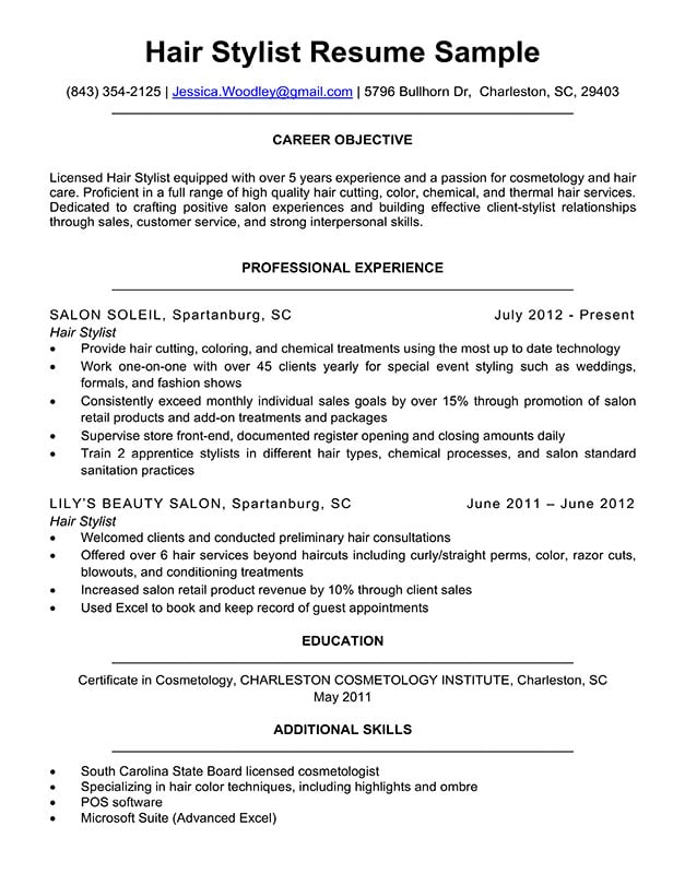 hair stylist resume sample  u0026 writing tips