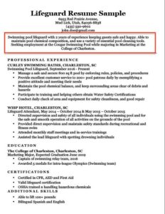 Lifeguard Career Objective Example College Resume ...