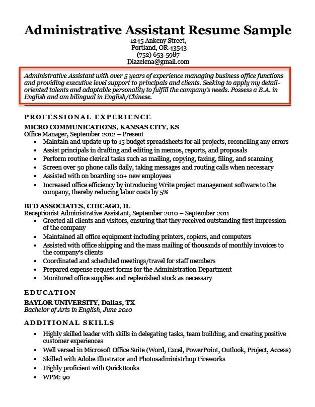 Administrative Assistant Resume Objective Example Professional 1