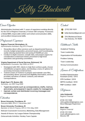 Imperial Gold Executive Resume Template