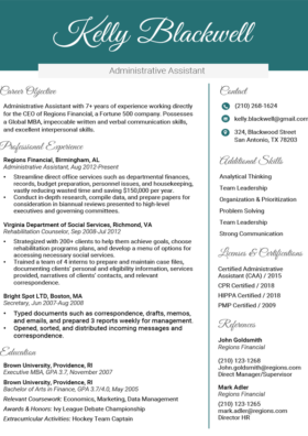 Viridian Executive Resume Template